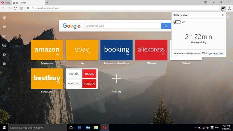 Opera browser - Opera battery