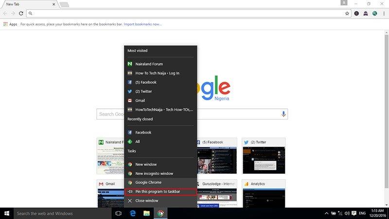 Pin Google Chrome to taskbar