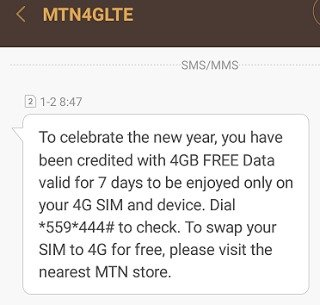 MTN Giving Out Free 4GB Data