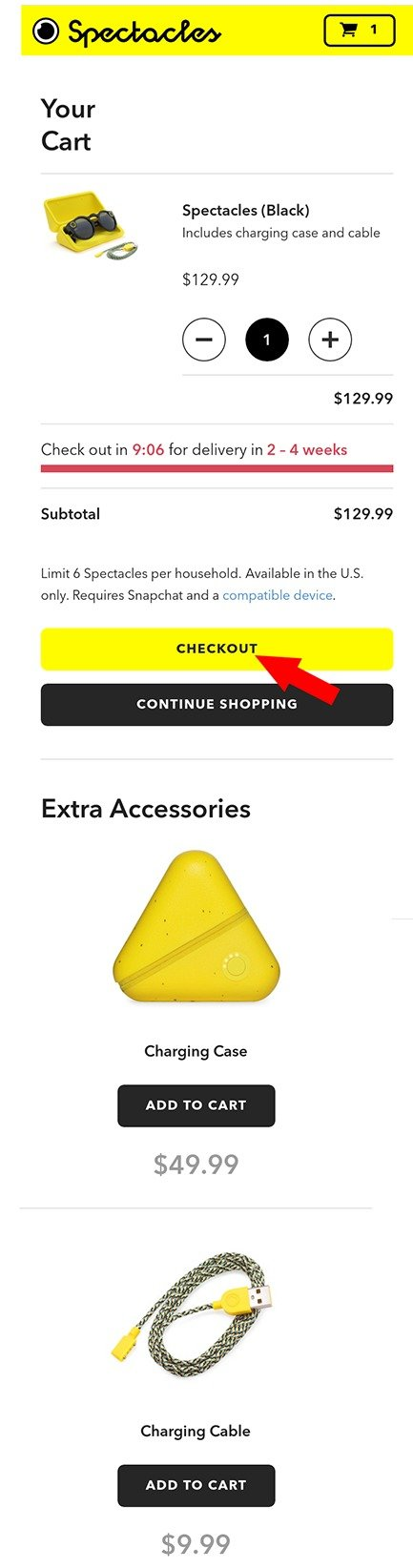 Order Snapchat Spectacle online