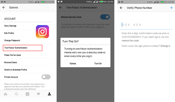 how to enable instagram two-factor authentication
