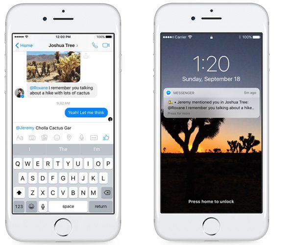 how to mention on messenger