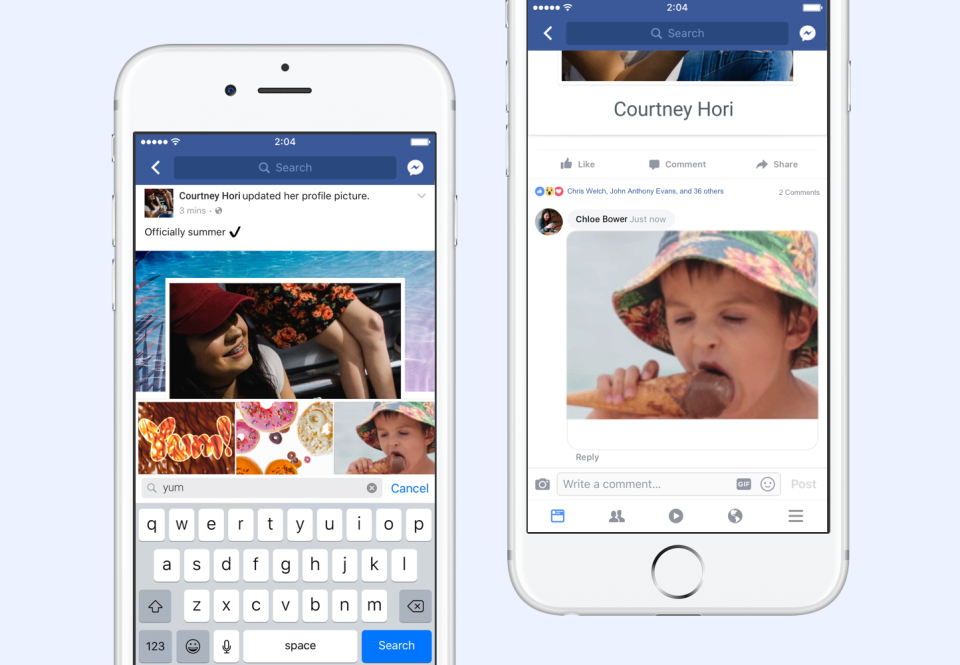 add gifs to facebook comments