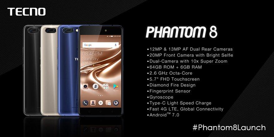tecno phantom 8 specifications