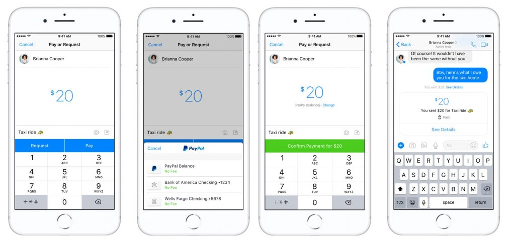 how to use PayPal in facebook messenger