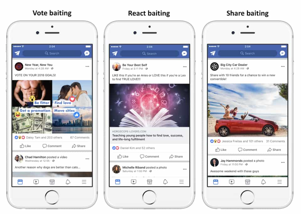 Facebook demotes engagement bait