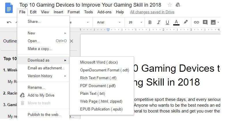 how to export google docs to pdf