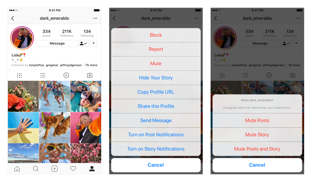 how to mute an account on instagram