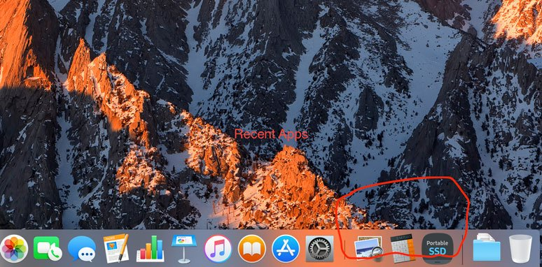 macOS Mojave app dock