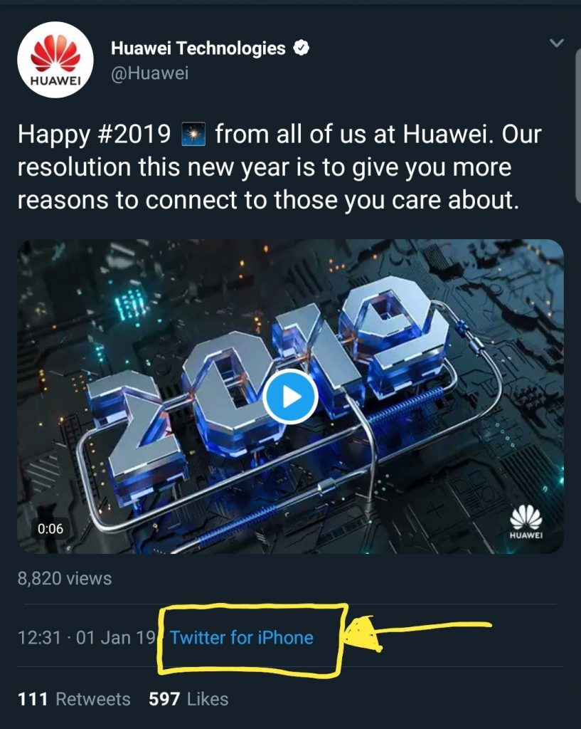 huawei iphone tweet scandal