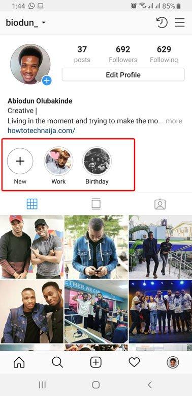 set instagram custom story highlight cover