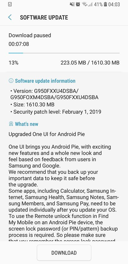 android pie update for galaxy s8