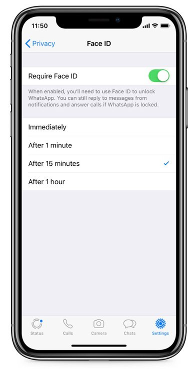 Face ID on WhatsApp for iPhone