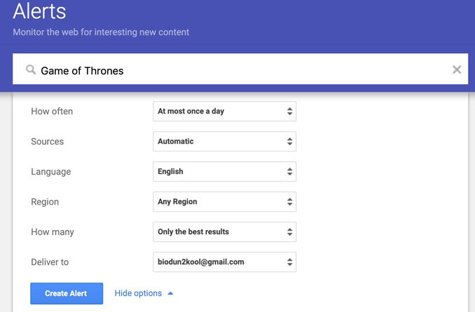 how to create Google alerts