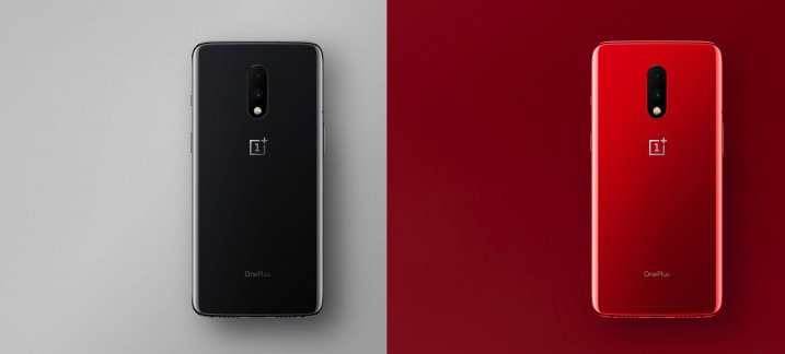 OnePlus 7 mirror gray and red