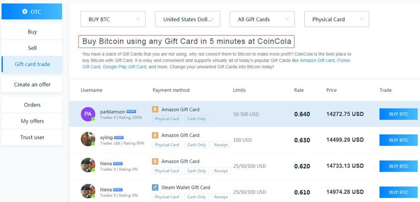 how to buy Bitcoin using gift cards on coincola