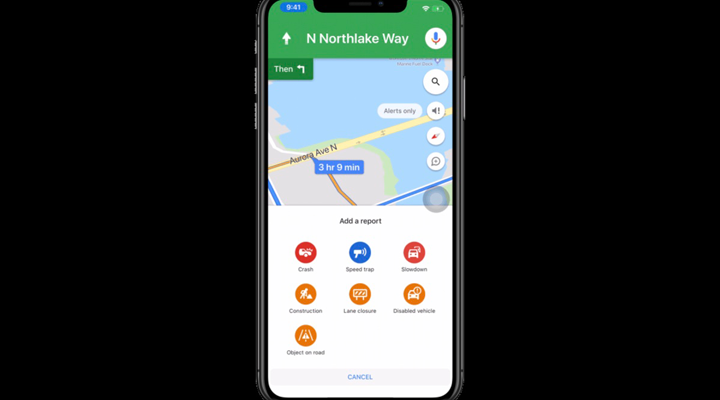 Google Maps for iOS traffic alerts