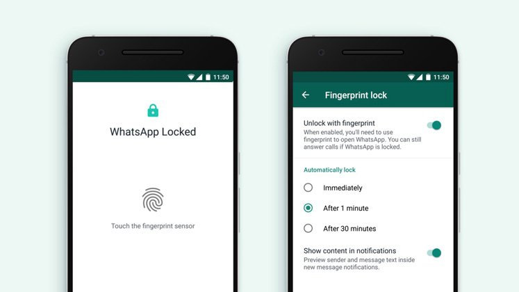 lock WhatsApp with fingerprint on android