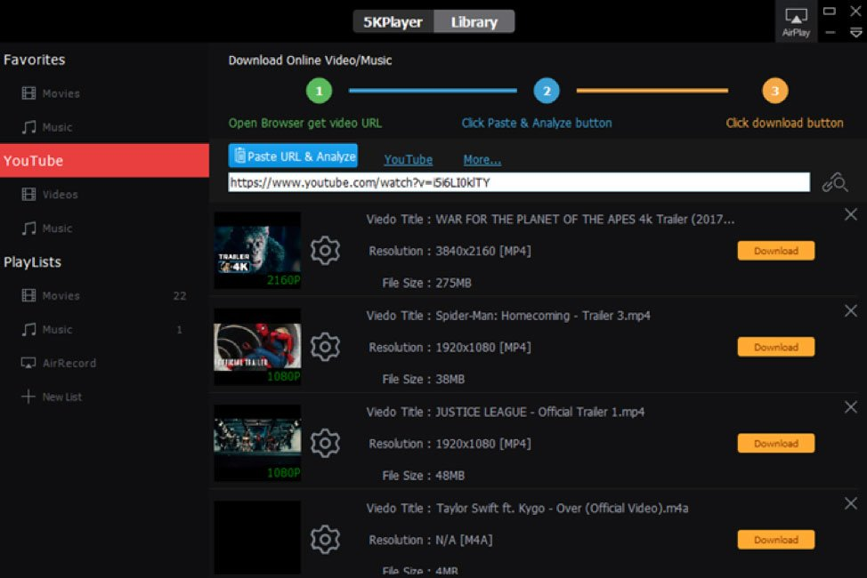 downloading videos with 5KPlayer