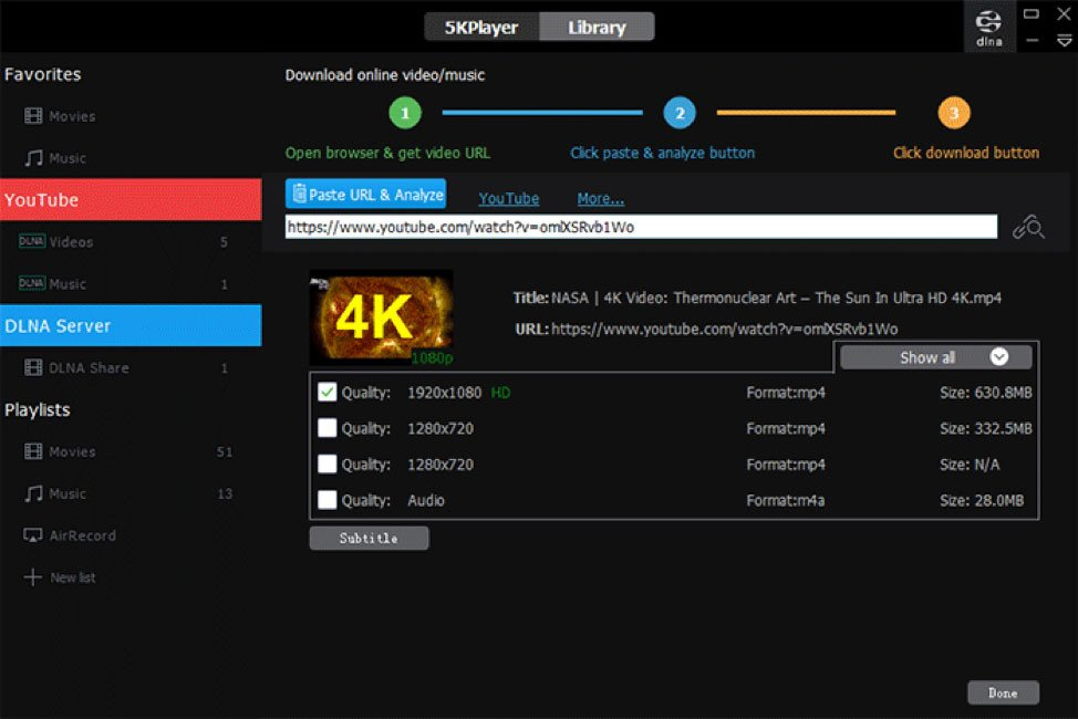 download 4k movies with 5KPlayer
