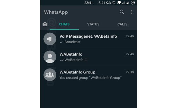 WhatsApp for Android Dark Mode