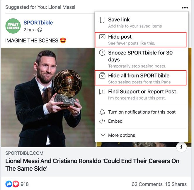 hide post from facebook news feed