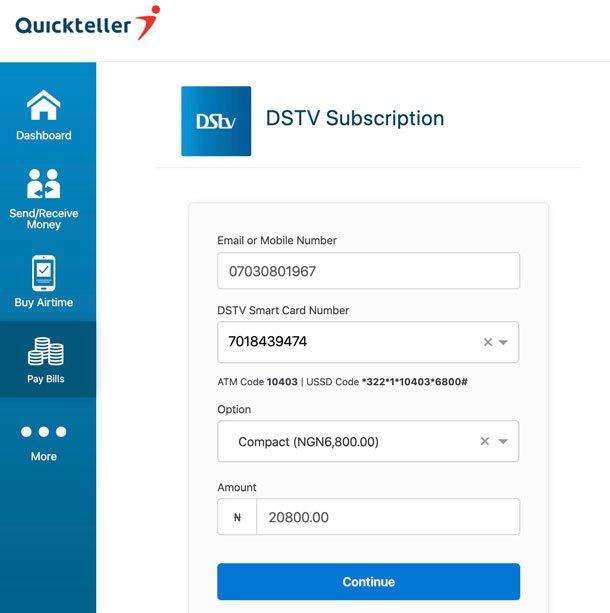 Quickteller DSTV payment