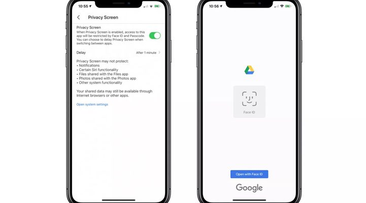 google drive for iOS privacy screen