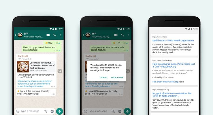 WhatsApp search the web