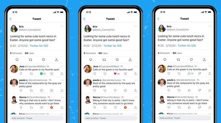 Twitter upvote and downvote replies