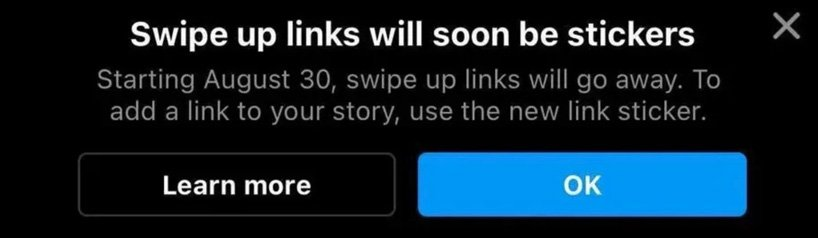 Instagram swipe up to be replaced with link stickers